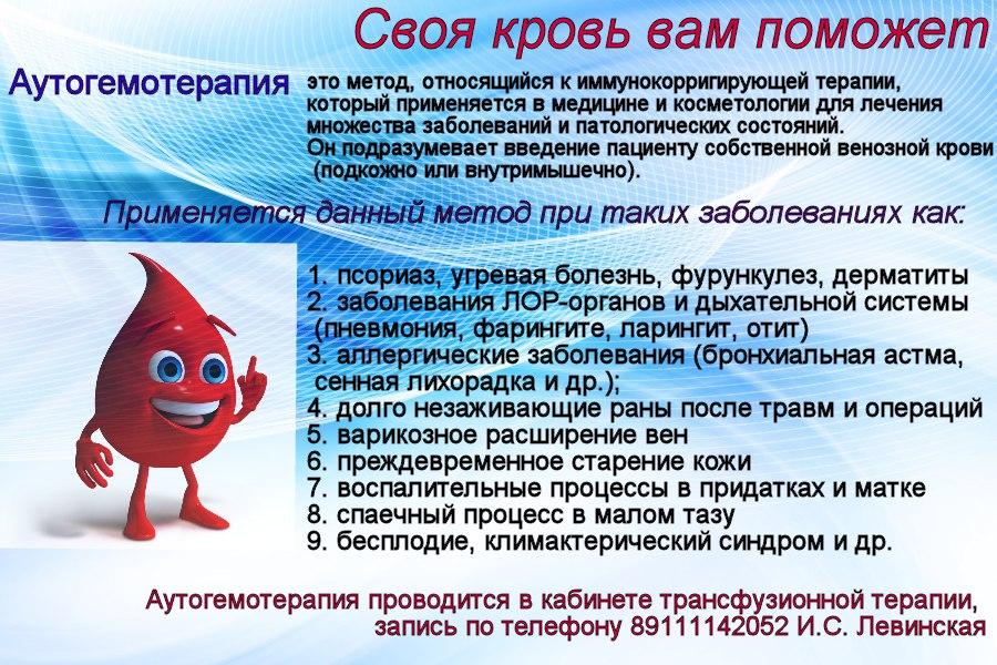 Аутогемотерапия (переливание крови из вены в ягодицу): понятие, область применения, процедура