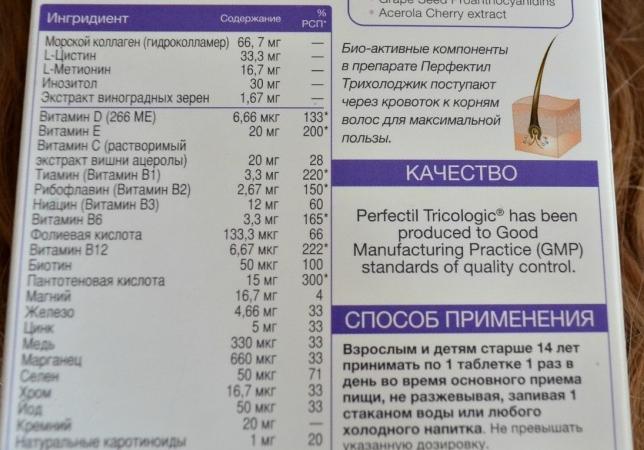 Витамины перфектил для волос: инструкция по применению и отзывы
