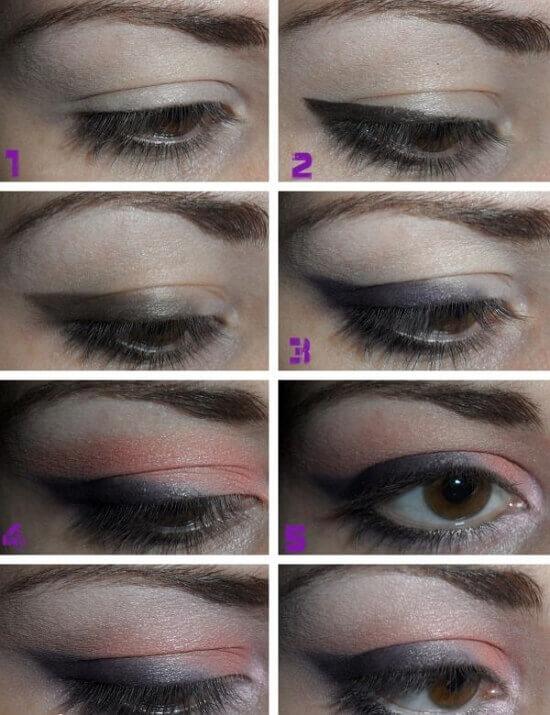 Пошаговое фото макияжа глаз с нависшим веком