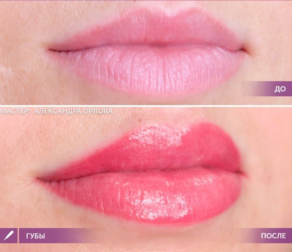Татуаж губ с растушевкой: естественный цвет, 3d, миасс, карамель, фото