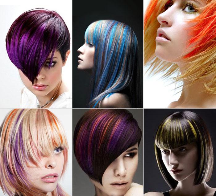 Колорирование темных и светлых волос.