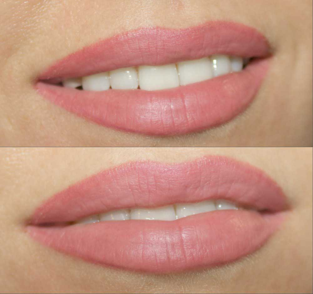 Стильный татуаж губ: фото до и после процедуры