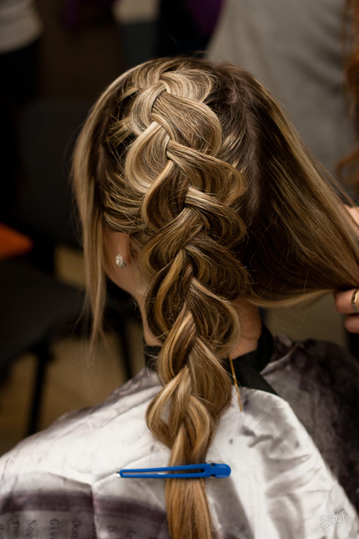 Схема плетения французской косы на средние волосы