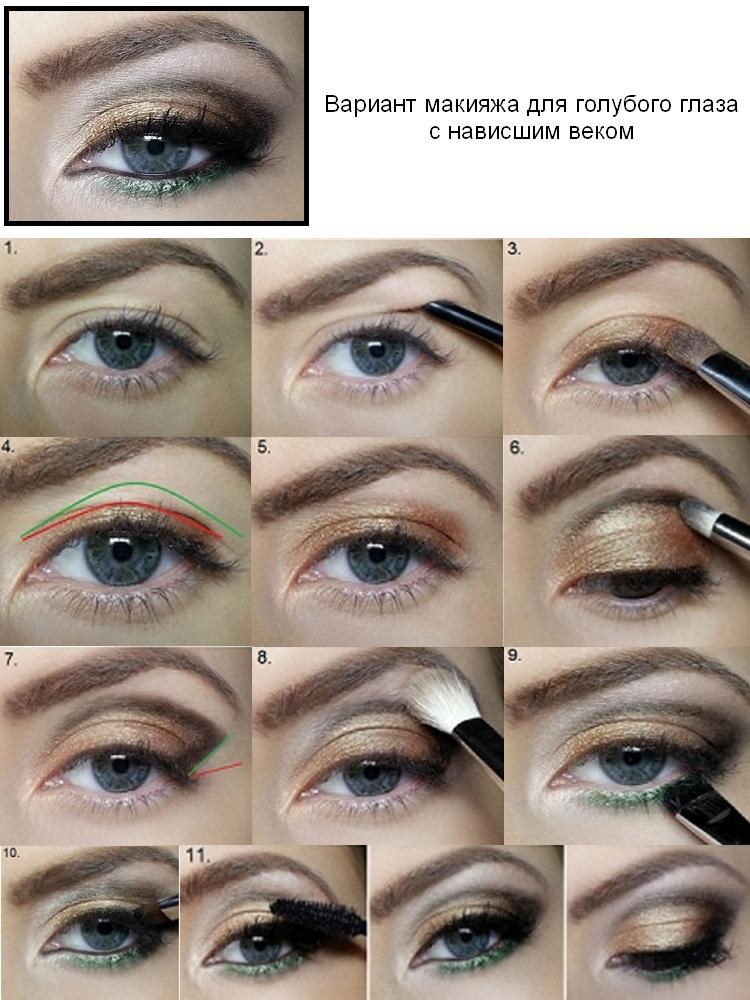 Макияж для глаз с опущенными уголками. нависшее веко: основные правила макияжа.